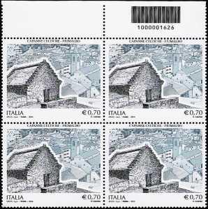 Patrimonio artistico e culturale  italiano : Capanne celtiche di Fiumalbo  - quartina con codice a barre n° 1626