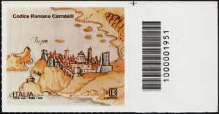 Codice Romano Carratelli - francobollo con codice a barre n° 1951 a DESTRA in alto