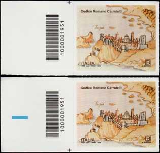 Codice Romano Carratelli - coppia di francobolli con codice a barre n° 1951 a SINISTRA alto-basso