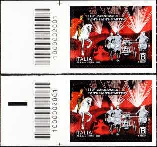 110° Anniversario del carnevale di Pont-Saint-Martin - coppia di francobolli con codice a barre n° 2001 a SINISTRA alto-basso