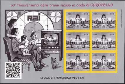 Italia 2017 - Minifoglio - Carosello - 60° anniversario della prima messa in onda