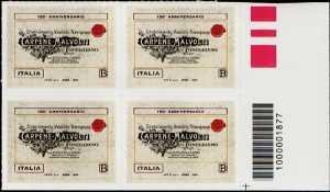 Eccellenze del sistema produttivo ed economico  - Carpenè Malvolti - 150° Anniversario della fondazione - quartina con codice a barre n° 1877