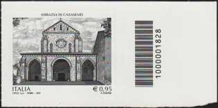 Patrimonio artistico e culturale italiano  :   Abbazia di Casamari - francobollo con codice a barre n° 1828