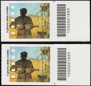 Eccellenze italiane dello Spettacolo - Il cinema italiano  :  Il giorno della civetta - coppia francobolli con codice a barre n° 1889  a DESTRA ALTO-BASSO