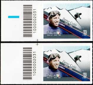 Lo Sport : Zeno Colò - Centenario della nascita - coppia di francobolli con codice a barre n° 2031 a SINISTRA alto-basso