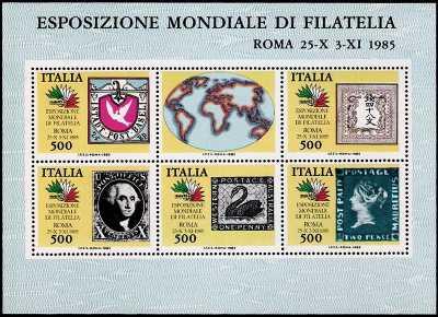 « Italia '85 » - Esposizione internazionale di filatelia a Roma - I francobolli più rappresentativi dei 5 continenti