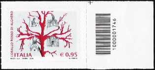 Il corallo rosso di Alghero - francobollo con codice a barre n° 1746