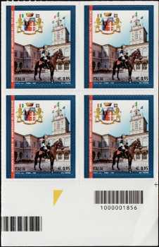 150° Anniversario della istituzione del Reggimento dei Corazzieri - quartina con codice a barre n°1856