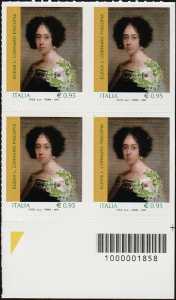 Eccellenze del sapere -  Elena Lucrezia Cornaro Piscopia - quartina con codice a barre n° 1858
