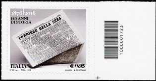 140° Anniversario della fondazione del quotidiano  «Corriere della Sera» - francobollo con codice a barre n° 1723