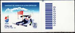 Campionati del mondo di sci alpino a Cortina d'Ampezzo - francobollo con codice a barre n° 2090 a DESTRA in alto