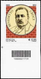 150° Anniversario della nascita di Benedetto Croce - francobollo con codice a barre n° 1719