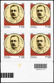 150° Anniversario della nascita di Benedetto Croce - quartina con codice a barre n° 1719