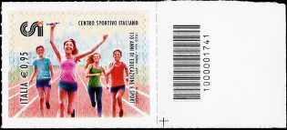 110° Anniversario della fondazione del CSI - francobollo  con codice a barre n° 1741