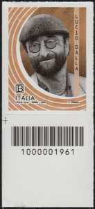 Le Eccellenze italiane dello spettacolo  - Lucio Dalla - francobollo con codice a barre n° 1961 in BASSO a sinistra