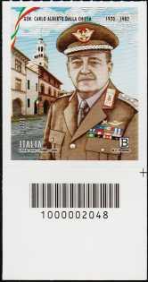 Generale Carlo Alberto Dalla Chiesa - Centenario della nascita - francobollo con codice a barre n° 2048 in BASSO a destra