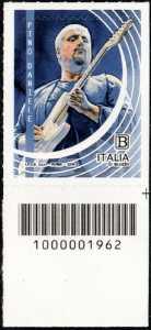 Le Eccellenze italiane dello spettacolo  - Pino Daniele - francobollo con codice a barre n° 1962 in BASSO a destra