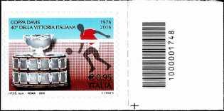 Coppa Davis - 40° Anniversario della vittoria dell'Italia - francobollo con codice a barre n° 1748