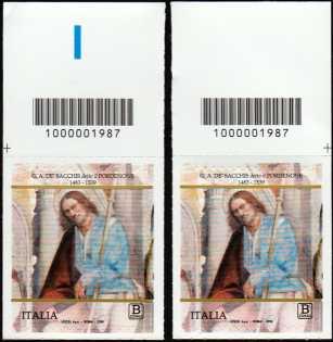 Giovanni Antonio de'  Sacchis detto 'Il Pordenone' - coppia di francobolli con codice a barre n° 1987 in ALTO destra-sinistra