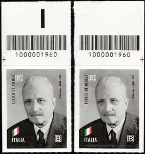 Enrico De Nicola - 60° Anniversario della scomparsa - coppia di francobolli con codice a barre n° 1960 in ALTO destra-sinistra