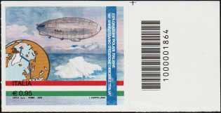 """90° Anniversario della spedizione del dirigibile """"Italia"""" al Polo Nord - francobollo con codice a barre n° 1864"""
