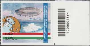 """90° Anniversario della spedizione del dirigibile """"Italia"""" al Polo Nord - francobollo con codice a barre n° 1864 a DESTRA in basso"""