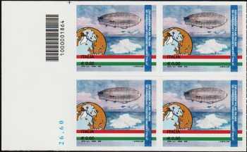 """90° Anniversario della spedizione del dirigibile """"Italia"""" al Polo Nord - quartina con codice a barre n° 1864"""
