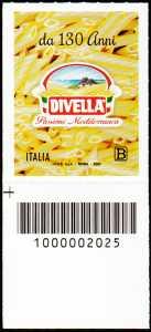 F.  DIVELLA  S.p.A. - 130° Anniversario della fondazione - francobollo con codice a barre n° 2025 in BASSO a sinistr