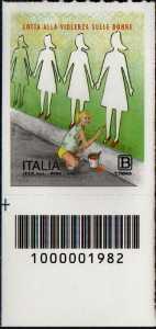 Lotta alla violenza sulle donne - francobollo con codice a barre n° 1983 in BASSO a sinistra