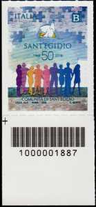 Comunità di Sant'Egidio - Cinquantenario della fondazione - francobollo con codice a barre n° 1887 in Basso a  Sinistra