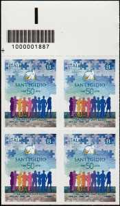 Comunità di Sant'Egidio - Cinquantenario della fondazione - quartina con codice a barre n° 1887