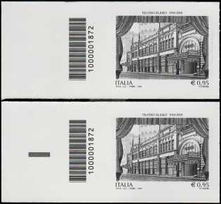 Teatro Eliseo di Roma - Centenario della inaugurazione  - coppia di francobolli con codice a barre n° 1872 a SINISTRA alto-basso