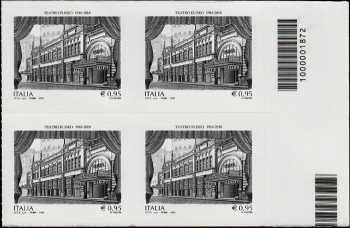 Teatro Eliseo di Roma - Centenario della inaugurazione  - quartina con codice a barre n° 1872