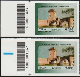 Europa - 63° serie -  Ponte sul Metauro - Fermignano - coppia di francobolli con codice a barre n° 1867 a SINISTRA alto-basso