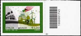 Europa - 1,00 - Ecologia in Europa : Pensa Verde - francobollo con codice a barre n° 1745