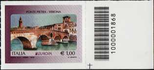 Europa - 63° serie -  Ponte Pietra - Verona - francobollo con codice a barre n° 1868