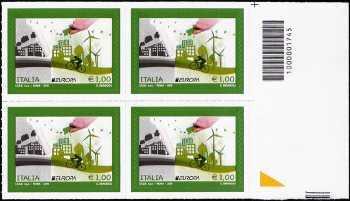 Europa - 1,00 - Ecologia in Europa : Pensa Verde - quartina con codice a barre n° 1745