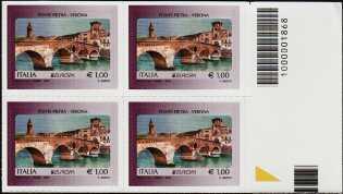 Europa - 63° serie -  Ponte Pietra - Verona - quartina con codice a barre n° 1868