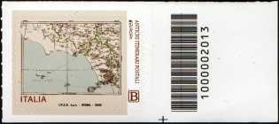 Europa - 65° serie   :  Antichi itinerari postali - francobollo con codice a barre n° 2013 a DESTRA in basso