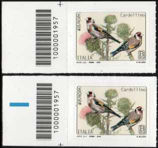 Europa - 64° serie :  Cardellino  -  coppia di francobolli con codice a barre n° 1957 a SINISTRA alto-basso