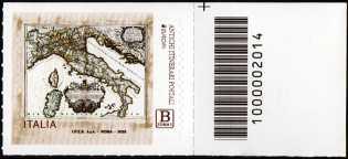 Europa - 65° serie   :  Antichi itinerari postali - francobollo con codice a barre n° 2014 a DESTRA in alto