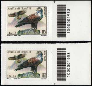 Europa - 64° serie :  Aquila di Bonelli -  coppia di francobolli con codice a barre n° 1958 a DESTRA alto-basso