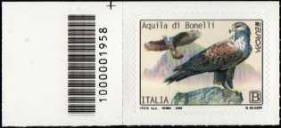 Europa - 64° serie :  Aquila di Bonelli -  francobollo con codice a barre n° 1958 a SINISTRA in alto