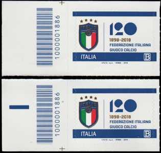 F.I.G.C. - Federazione Italiana Gioco Calcio - 120° Anniversario della fondazione - coppia con codice a barre n° 1886 a Sinistra Alto-Basso