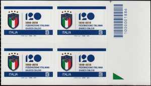 F.I.G.C. - Federazione Italiana Gioco Calcio - 120° Anniversario della fondazione - quartina codice a barre n° 1886