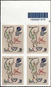 Federazione Ginnastica d'Italia - 150° Anniversario della fondazione - quartina con codice a barre n° 1979