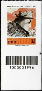 Federico Fellini - Centenario della nascita - francobollo con codice a barre n° 1996 in BASSO a destra
