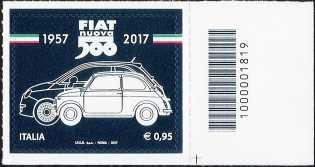 Fiat Nuova 500 : 1957 - 2017 - francobollo con codice a barre n° 1819