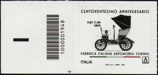 FIAT - 120°  Anniversario della fondazione - francobollo con codice a barre n° 1948 a SINISTRA in basso