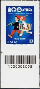 F.I.L.A. - Fabbrica Italiana Lapis ed Affini - Centenario della fondazione - francobollo con codice a barre n° 2008 in BASSO a sinistra